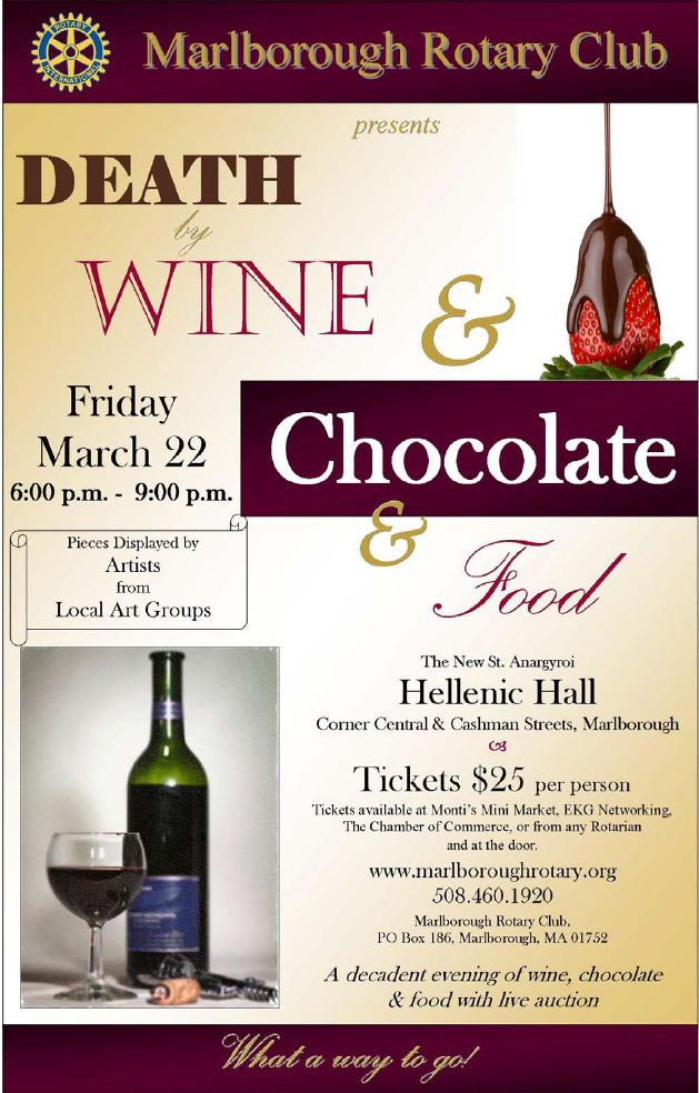 Marlborough Rotary Club Death by Wine and Chocolate