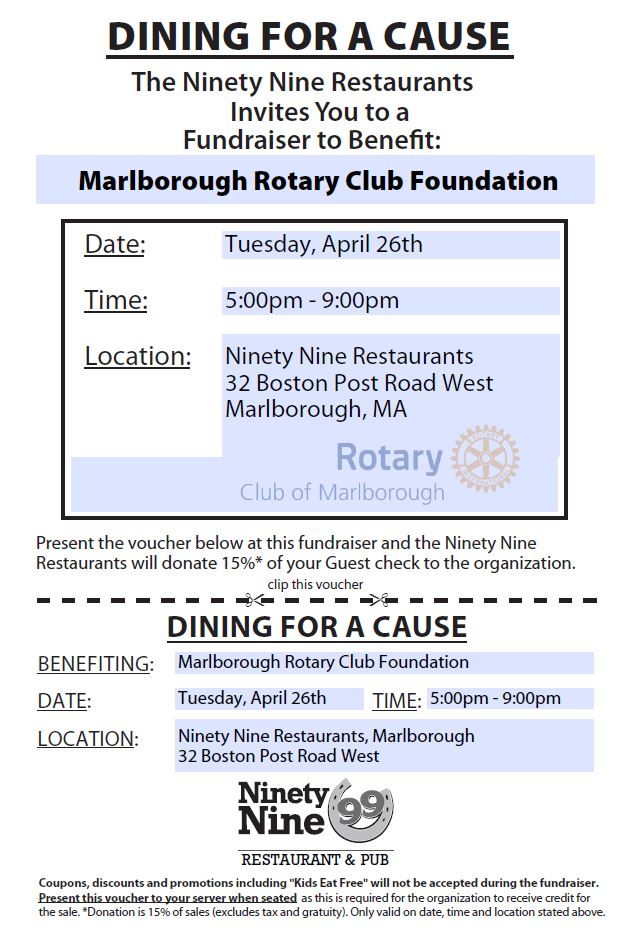 Marlborough Rotary Club Dining for a Cause