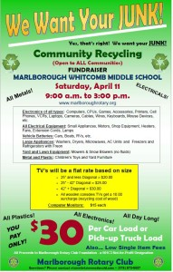 We want your Junk! Marlborough Whitcomb School 9 a.m. to 3 p.m. Saturday April 11