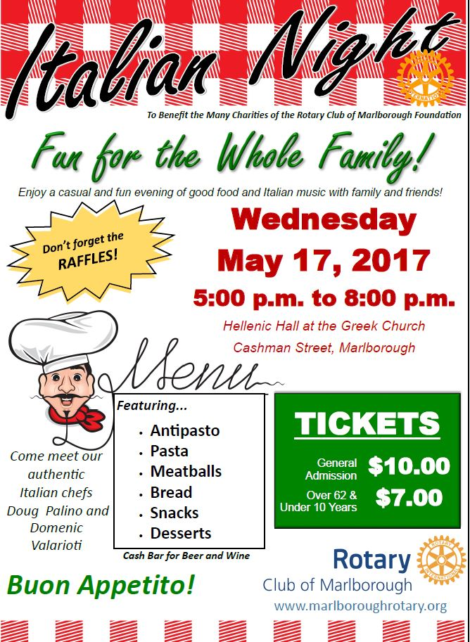 Join us for some wonderful Italian fare, May 17th Wednesday at the Helenic Hall in Marlborough